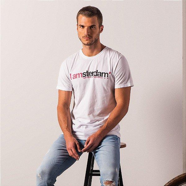 Camiseta masculina estampa lettering I Am Amsterdam - Branco