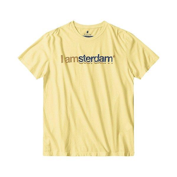 Camiseta masculina estampa lettering I Am Amsterdam - Amarelo