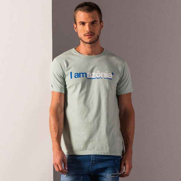 Camiseta masculina estampa lettering I Am Amazônia - Verde