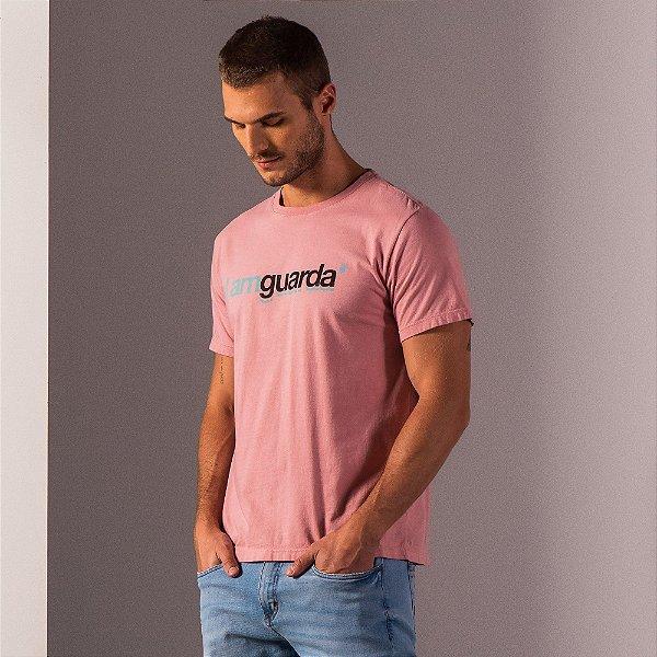 Camiseta masculina estampa lettering I Am Guarda - Rosa