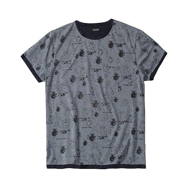 Camiseta masculina dupla face estampa padronagem leão Vøn der Völke - Preto