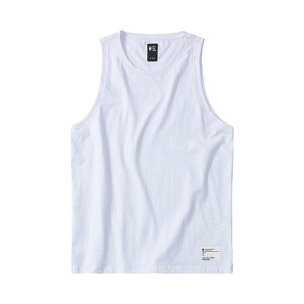 Regata masculina básica com elastano etiqueta termocolante - Branco