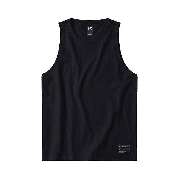 Regata masculina básica com elastano etiqueta termocolante - Preto
