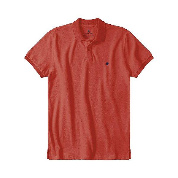 Camisa polo masculina básica em piquet gola em retilínea - Vermelho