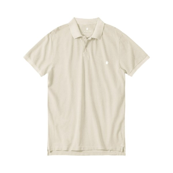Camisa polo masculina básica estonada em piquet - Bege