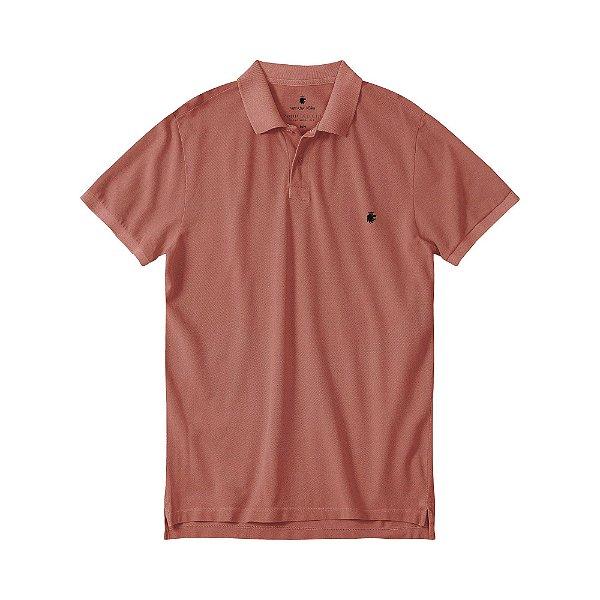 Camisa polo masculina básica estonada em piquet - Vermelho