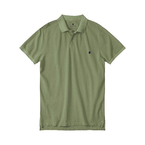 Camisa polo masculina básica estonada em piquet - Verde