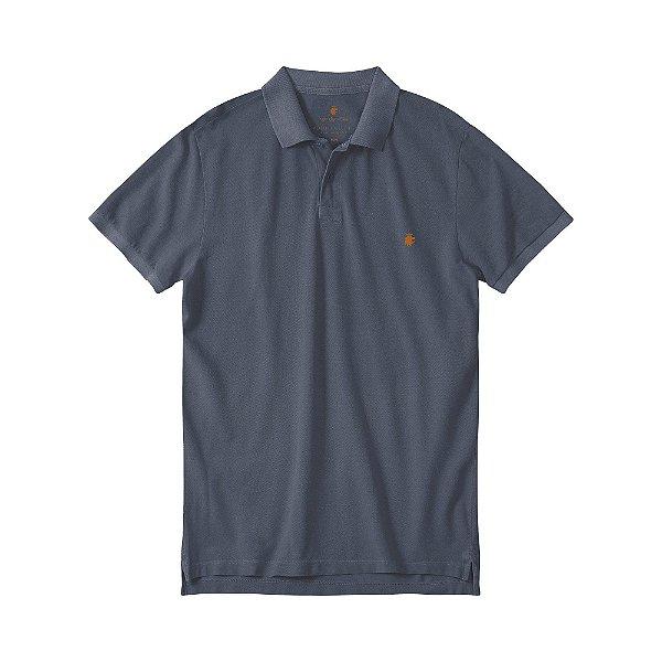 Camisa polo masculina básica estonada em piquet - Azul