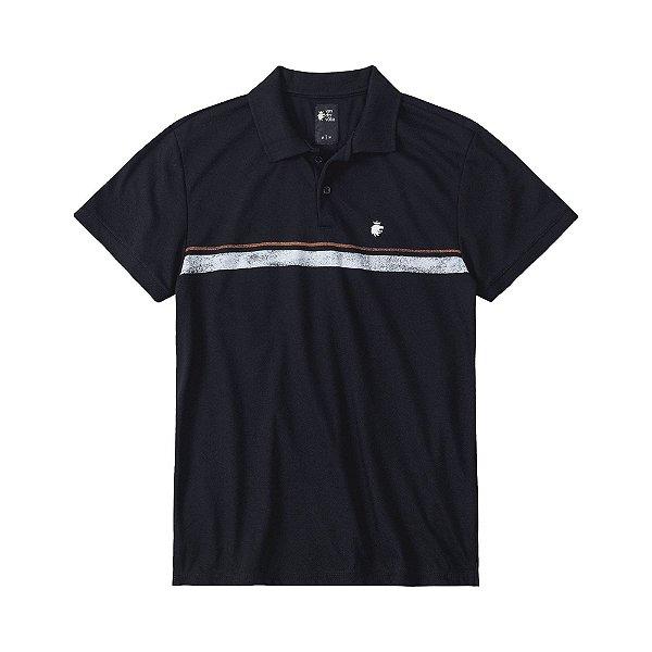 Camisa polo masculina em piquet com listra frontal - Preto