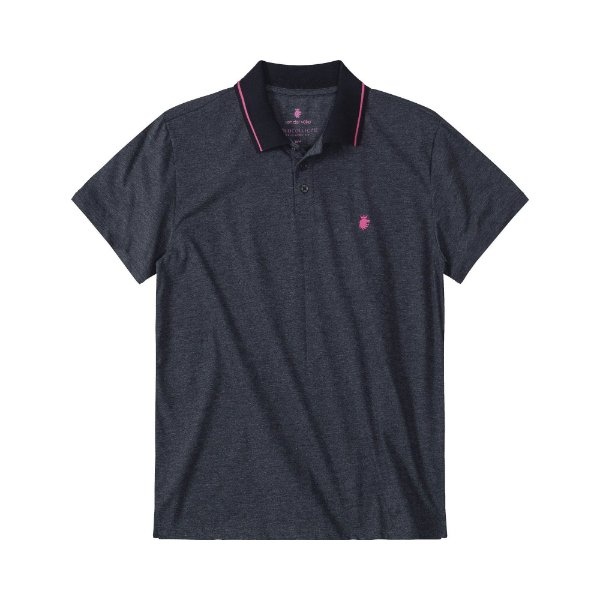 Camisa polo masculina em meia malha mescla e gola retilínea listrada - Preto
