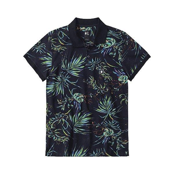 Camisa polo masculina estampa de folhagens com etiqueta emborrachada - Preto