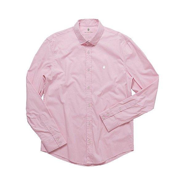 Camisa social manga longa básica masculina de tricoline com elastano - Rosa