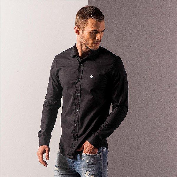 Camisa social manga longa básica masculina de tricoline com elastano - Preto