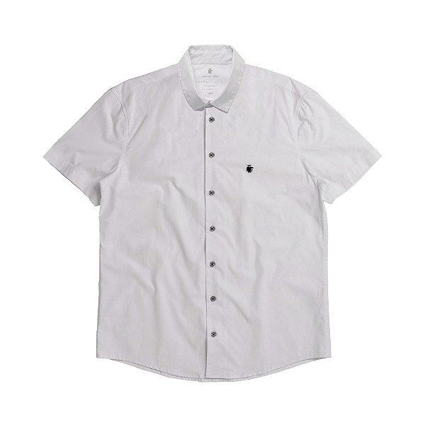 Camisa social manga curta básica masculina de tricoline - Branco