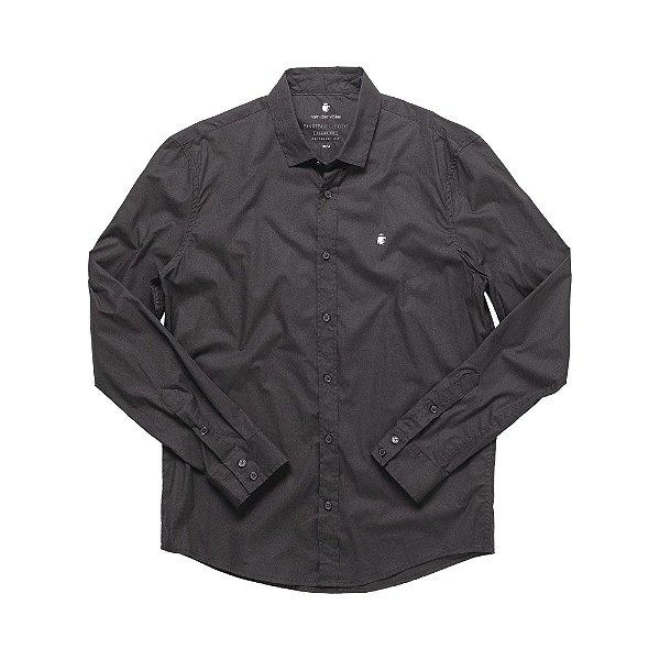 Camisa social manga longa básica masculina de tricoline - Preto