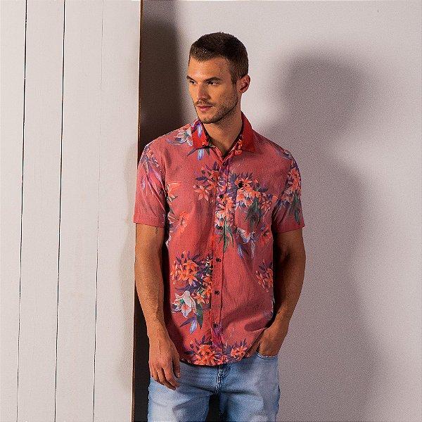 Camisa manga curta com bolso e estampa floral - Vermelho