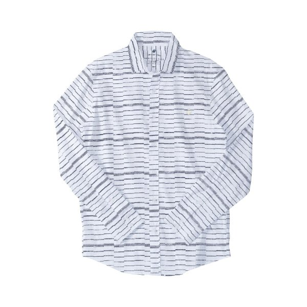 Camisa masculina manga longa tecido flamê e estampa listrada - Branco