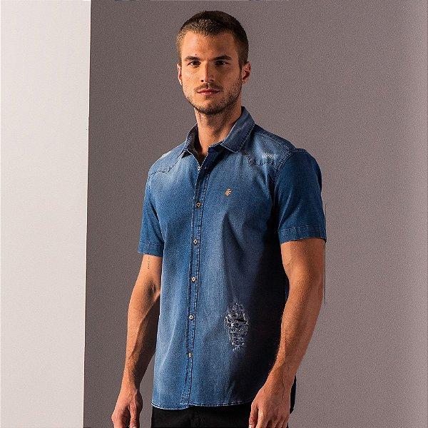 Camisa jeans de manga curta com desgaste e puídos - Medium Denim