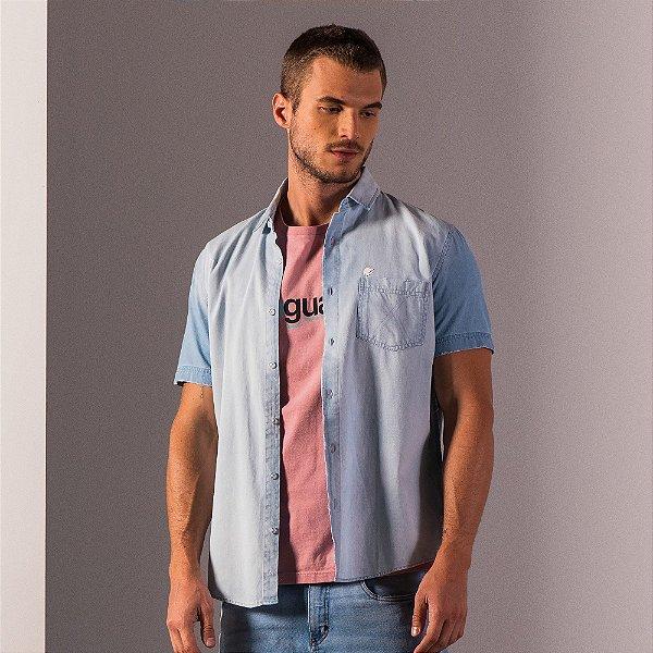 Camisa jeans de manga curta com bolso - Light Denim