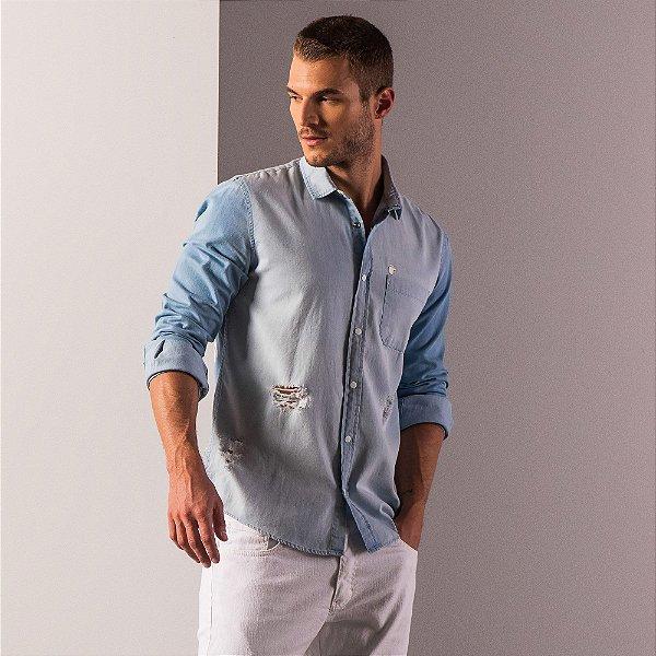 Camisa jeans de manga longa destoyed com bolso - Light Denim