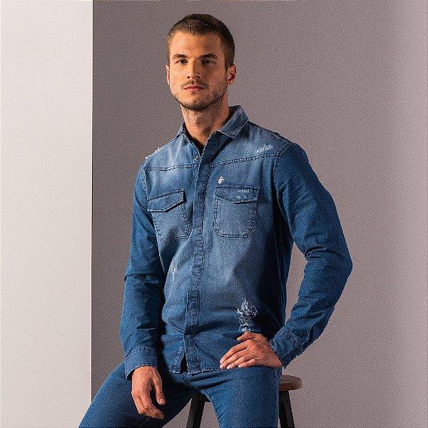 Camisa jeans destroyed de manga longa com bolsos - Medium Denim