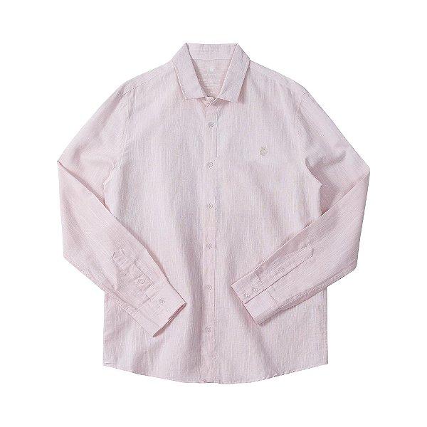 Camisa masculina de manga longa em tecido flamê rústico - Rosa