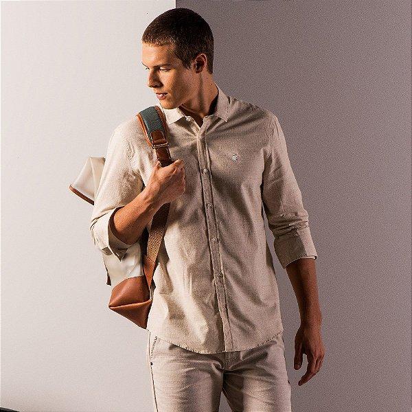 Camisa masculina de manga longa em tecido fio tinto - Bege