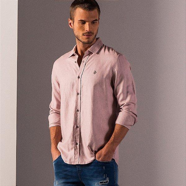 Camisa masculina de manga longa em oxford mescla - Rosa