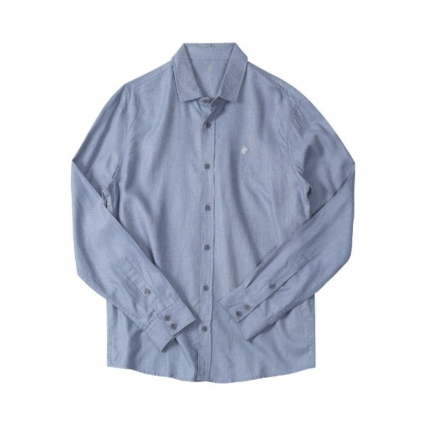 Camisa masculina de manga longa em oxford mescla - Azul