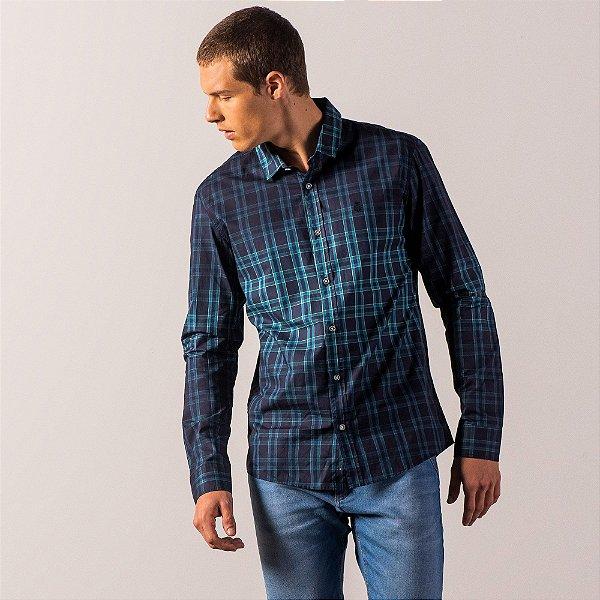 Camisa xadrez masculina de manga longa com efeito spray - Azul