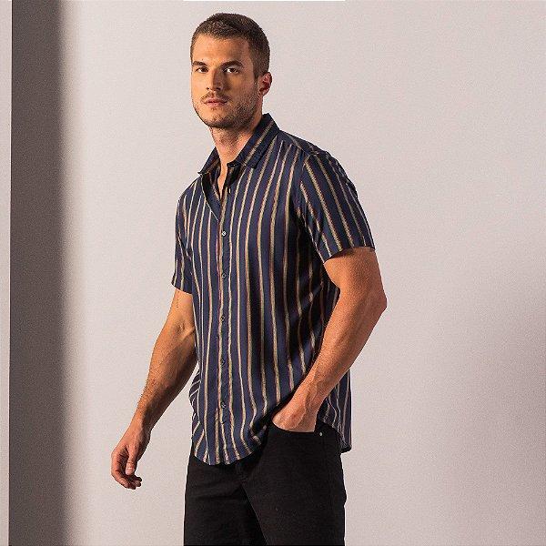 Camisa masculina listrada de manga curta tecido leve - Azul