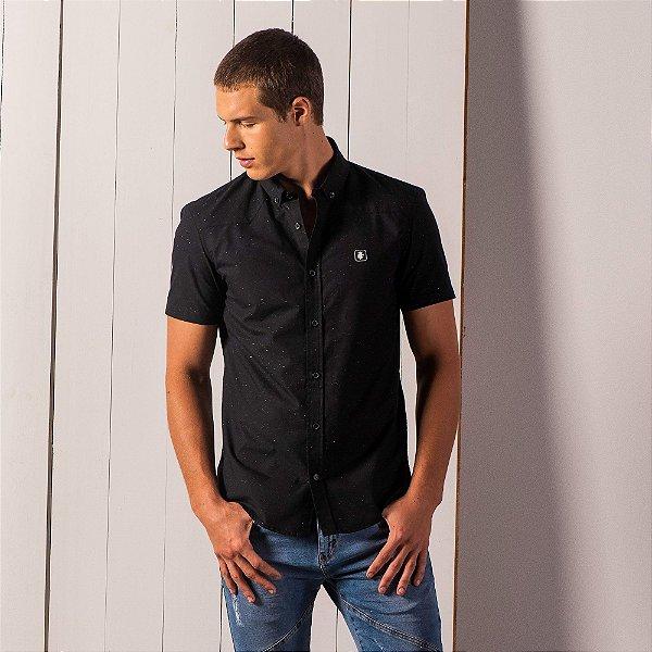 Camisa masculina de manga curta tricoline textura botonê - Preto