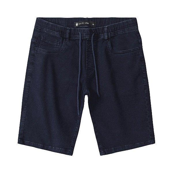 Bermuda masculina básica em sarja modelagem slim com amarração - Azul