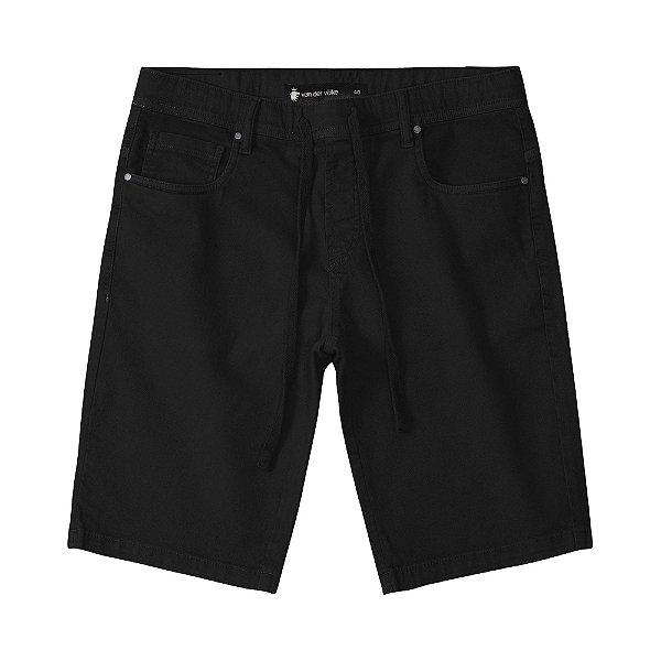 Bermuda masculina básica em sarja modelagem slim com amarração - Preto
