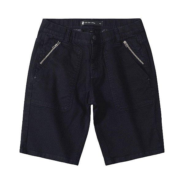 Bermuda masculina em sarja com bolso com zíper - Preto