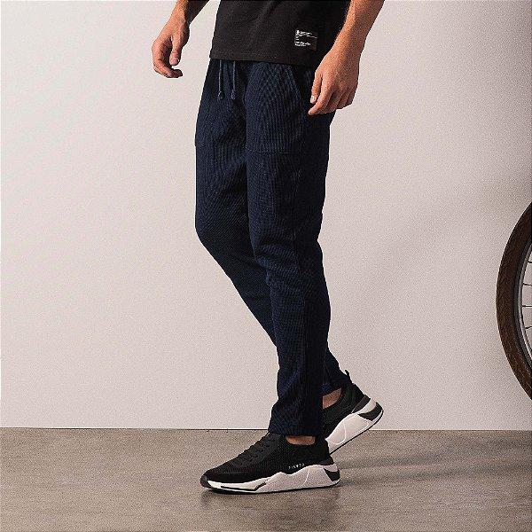 Calça masculina malha waffle com elástico e bolso frontal - Azul