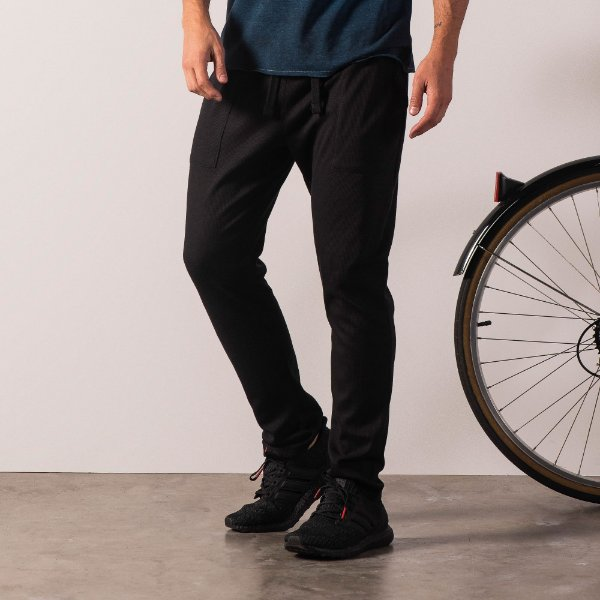 Calça masculina malha waffle com elástico e bolso frontal - Preto