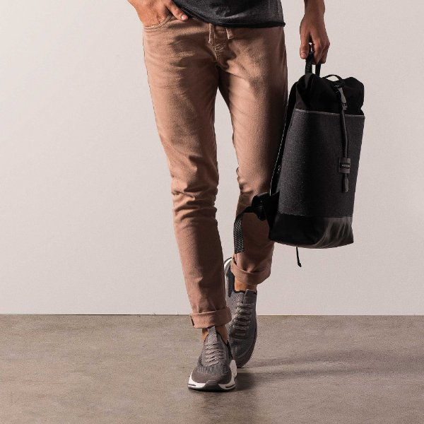 Calça chino básica masculina modelagem slim e cos com elástico - Marrom