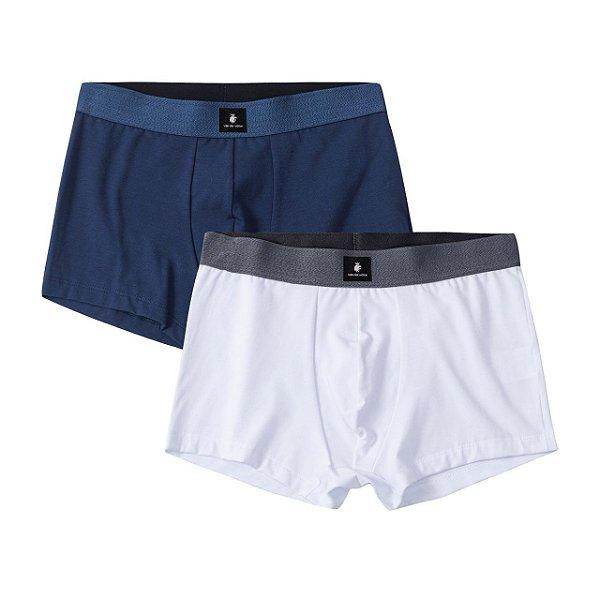 Kit 2 cuecas boxer com elástico largo e etiqueta decorativa - Branco/Azul