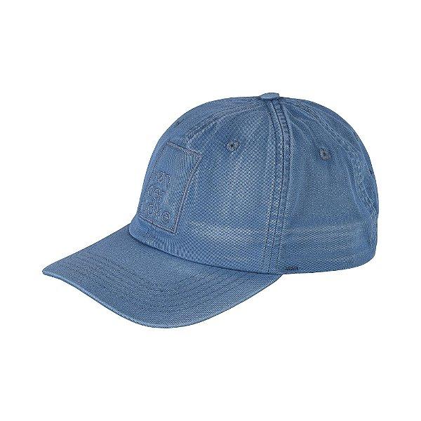 Boné flex de aba curva efeito marmorizado e bordado - Azul