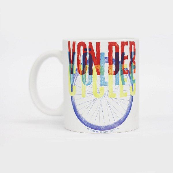 Caneca de café 300ml estampa bicicleta e lettering Von der Volke - Branco