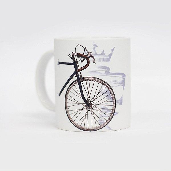 Caneca de café 300ml estampa bicicleta lettering e leão da Von der Volke - Branco
