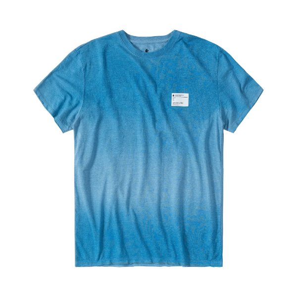 Camiseta masculina com efeito devorê e etiqueta termocolante - Azul