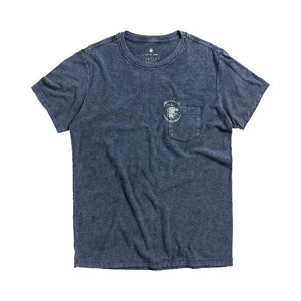 Camiseta com bolso em malha flamê marmorizada - Azul