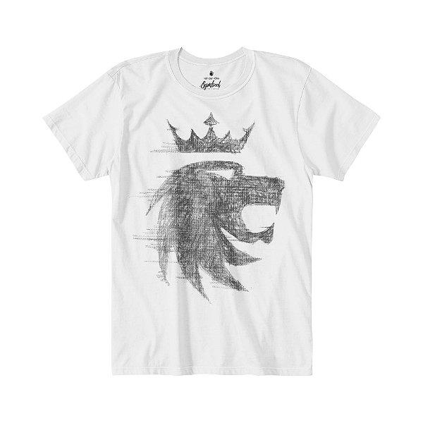 Camiseta masculina de manda curta malha flamê estampa leão Vøn der Völke - Branco