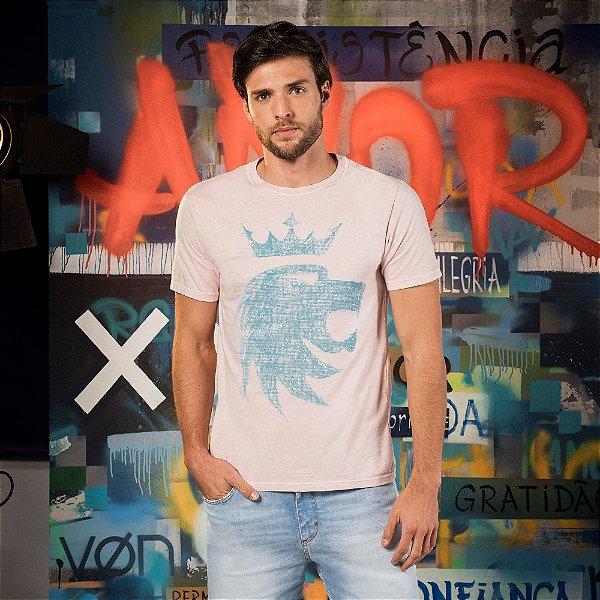 Camiseta masculina de manda curta malha flamê estampa leão Vøn der Völke - Rosa