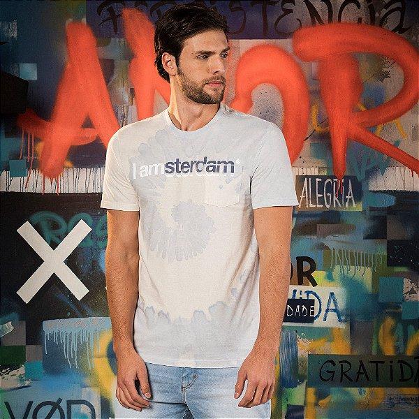 Camiseta masculina efeito tie die e lettering I Am Amsterdam - Azul