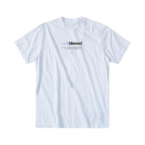 Camiseta masculina manga curta lettering I Am Blessed - Branco