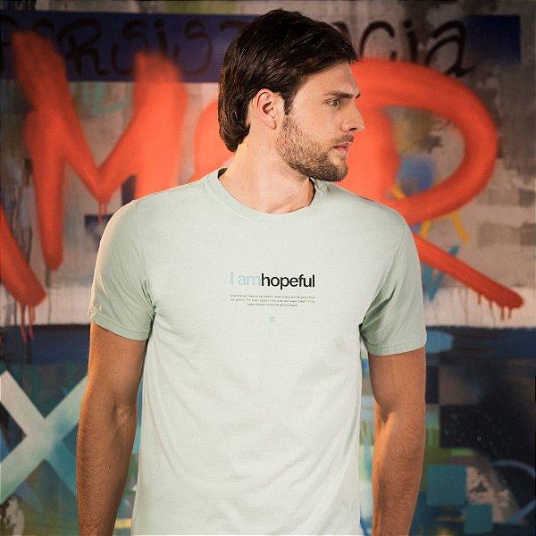 Camiseta masculina manga curta lettering I Am Hopeful - Verde