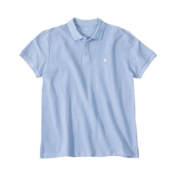 Camisa polo masculina em piquet e gola em retilínea com listra - Azul